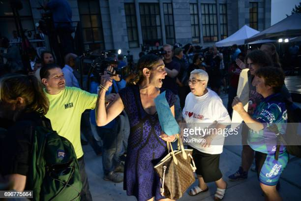 Supporters of Bill Cosby cheer outside Montgomery Courthouse in Norristown Pennsylvania on June 16 2017