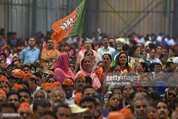 Supporters of BJP during a rally of Maharashtra Chief Minister Devendra Fadnavis as part of 'Vijay Sankalp Melava' at Goregaon on January 28 2017 in...