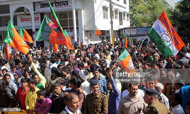 Supporters of BJP mayor candidate Malini Gaud and Congress mayor candidate Archana Jaiswal assembled in large number during the course of nomination...