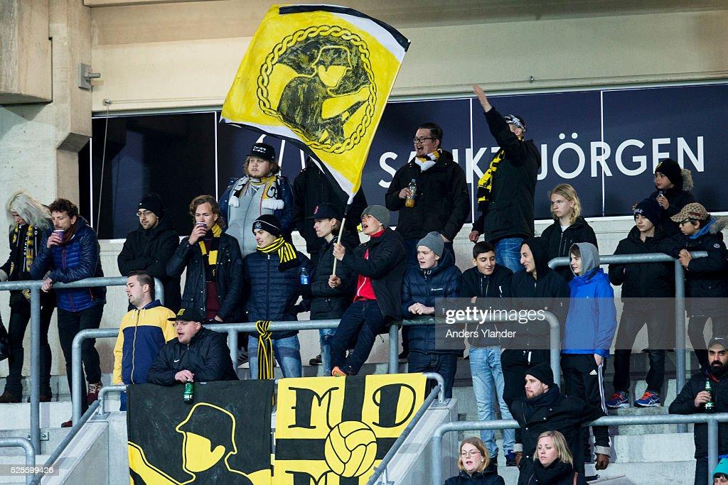 Supporters of BK Hacken during the Allsvenskan match between BK Hacken and Gefle IF at Bravida Arena on April 28, 2016 in Gothenburg, Sweden.