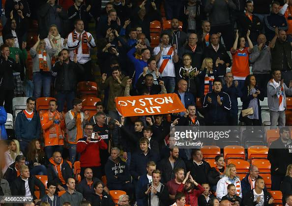Supporters of Blackpool walk out in protest at the beginning of the second half during the Sky Bet Championship match between Blackpool and Cardiff...