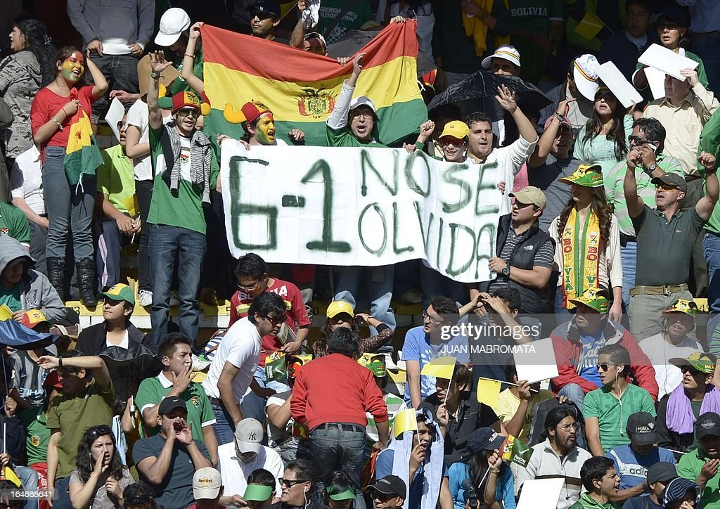 Supporters of Bolivia display a banner remembering their 6-1 win against Argentina in the qualifiers for the South Africa 2010 World Cup, as they wait for the start of the Brazil 2014 FIFA World Cup South American qualifier football match between their team and Argentina, at the Hernando Siles stadium in La Paz, on March 26, 2013.