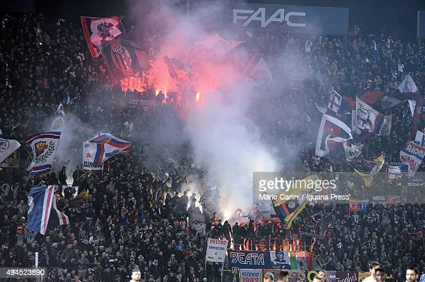 Supporters of Bologna FC attend the Serie A match between Bologna FC and FC Internazionale Milano at Stadio Renato Dall'Ara on October 27 2015 in...