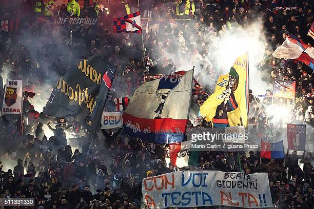 supporters of Bologna FC attend the Serie A match between Bologna FC and Juventus FC at Stadio Renato Dall'Ara on February 19 2016 in Bologna Italy