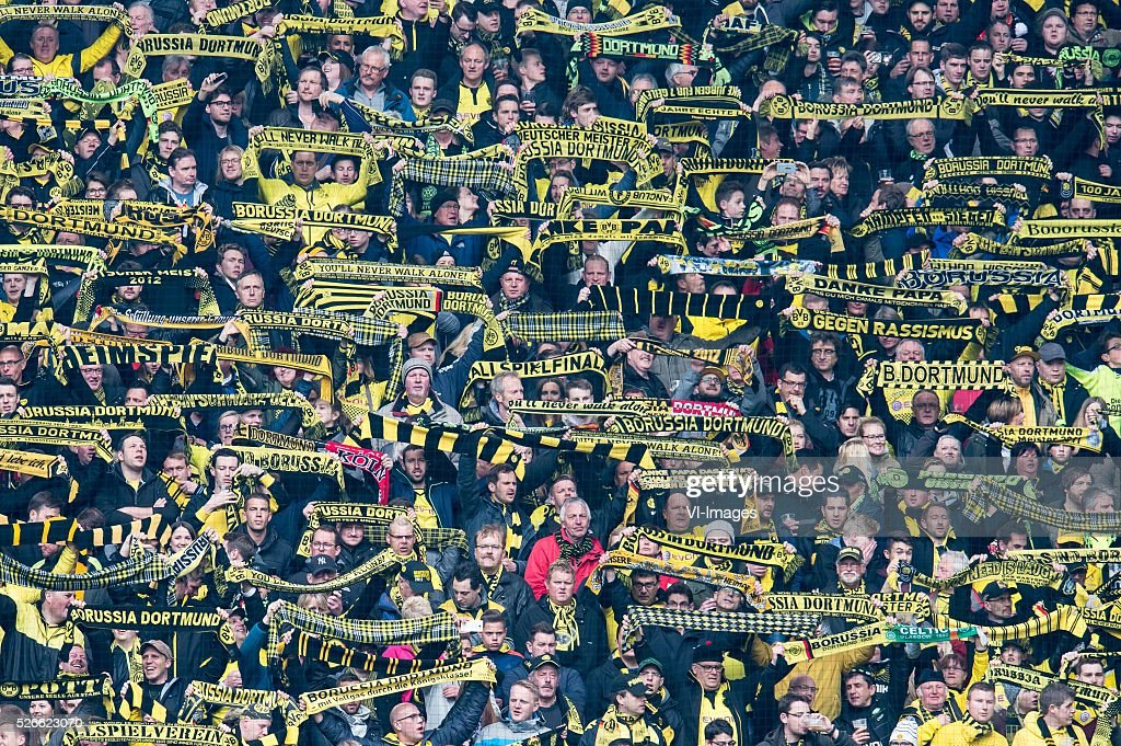 supporters of Borussia Dortmund during the Bundesliga match between Borussia Dortmund and VfL Wolfsburg on April 30, 2016 at the Signal Idun Park stadium in Dortmund, Germany.