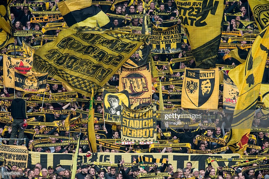 supporters of Borussia Dortmund during the Bundesliga match between Borussia Dortmund and VfL Wolfsburg on April 30, 2016 at the Signal Idun Park stadium in Dortmund, Germany.