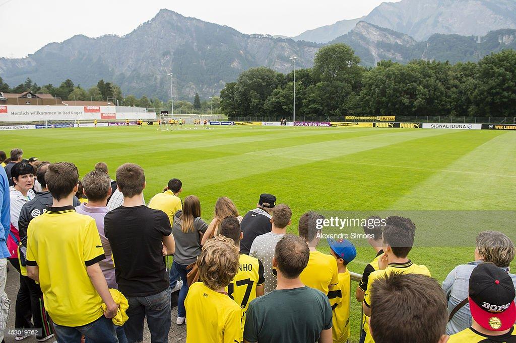 Supporters of Borussia Dortmund on August 1, 2014 in Bad Ragaz, Switzerland.