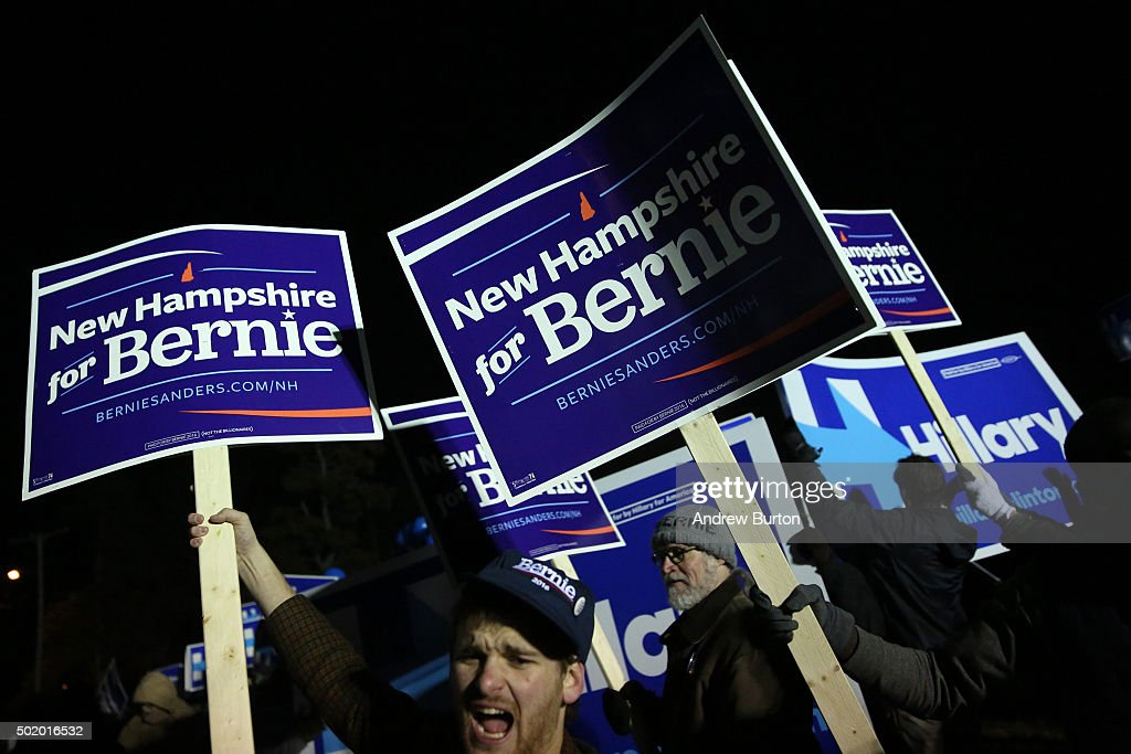 Supporters of both Hillary Clinton and Bernie Sanders hold a rally on the campus of Saint Anselm College before tonight's Democratic debate on...