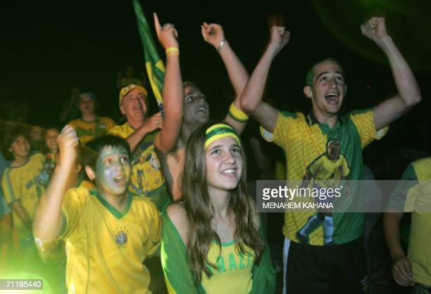Supporters of Brazilian football team celebrate 13 June 2006 at Kibbutz Bror Chayil founded by Jewish immigrants from Brazil as their former country...