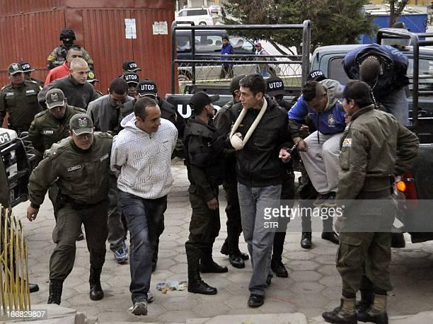 Supporters of Brazilian football team Corinthians enter San Pedro prison in Oruro Bolivia on April 17 2013 12 supporters of Corinthians were detained...
