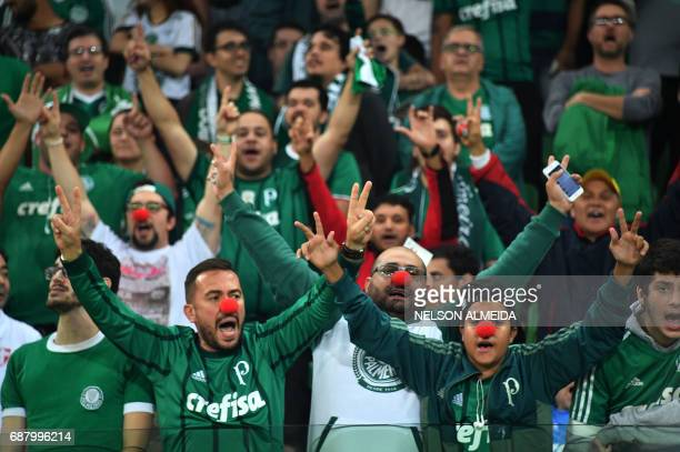 Supporters of Brazilian Palmeiras cheer for their team during the 2017 Copa Libertadores football match against Argentina's Atletico Tucuman held at...