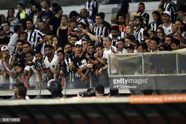 Supporters of Brazil's Atletico Mineiro complaint to the referee at the end of their 2017 Copa Libertadores match against Bolivia's Jorge Wilstermann...