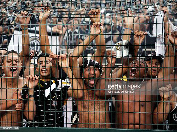 Supporters of Brazil's Corinthians celebrate the victory of their team in the Brazilian Championship after tying by 00 in their final date match...