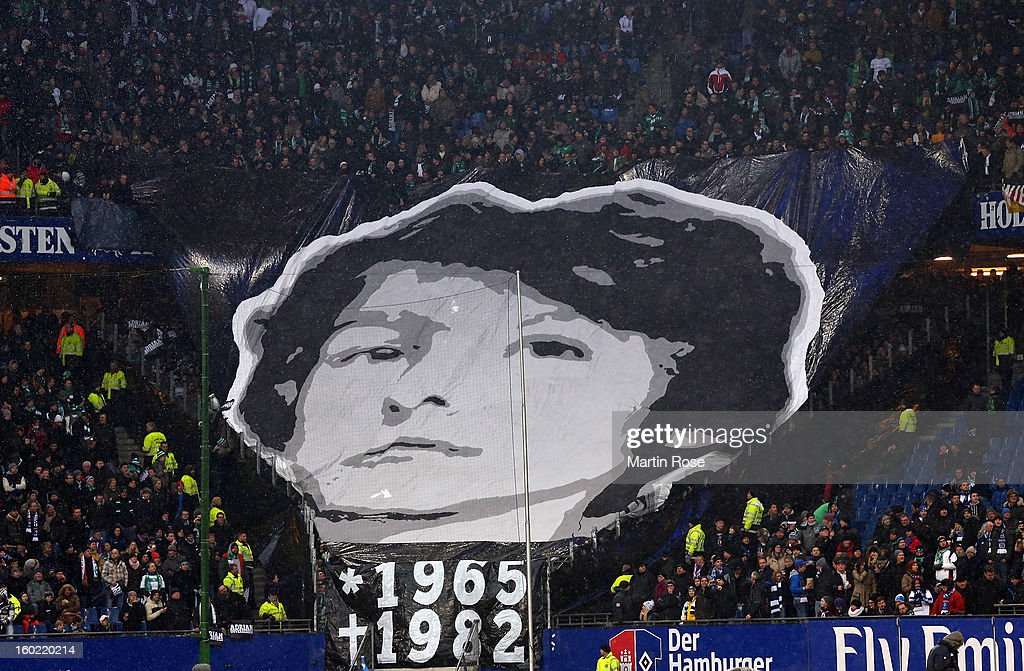 Supporters of Bremen showing a banner before the Bundesliga match between Hamburger SV and SV Werder Bremen at Imtech Arena on January 27, 2013 in Hamburg, Germany.