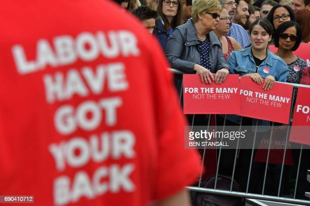 TOPSHOT Supporters of Britain's main opposition Labour party await the arrival of th party's leader Jeremy Corbyn at a general election campaign...