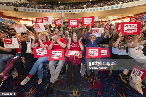 Supporters of British Labour party leader Jeremy Corbyn attend a rally in Ruach City Churchorganised by the Momentum organisation in London United...
