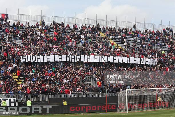 Supporters of Cagliari during the Serie A match between Cagliari Calcio and SS Lazio at Stadio Sant'Elia on April 4 2015 in Cagliari Italy