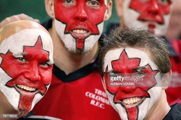 Supporters of Canadian rugby union national team smile before the World Cup group B match Fiji vs Canada 16 September 2007 at the Millenium stadium...