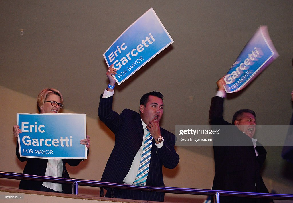 Supporters of candidate in the Los Angeles City mayoral race, Councilman Eric Garcetti celebrate after taking his first lead in the race to become mayor of Los Angeles, with 51 percent of the vote, compared to 49 percent for City Controller Wendy Greuel at an election night party at The Hollywood Palladium on May 21, 2013 in the Silver Lake area of Los Angeles, California. In what could be a record-low voter turnout, Garcetti is up against Los Angeles City Controller Wendy Greuel for the seat held by tow-term Antonio Villaraigosa.