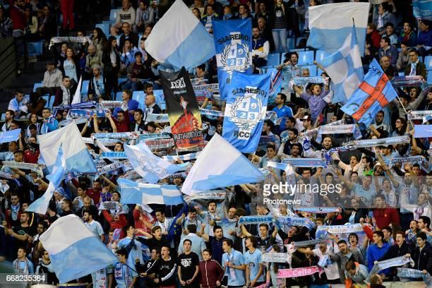 Supporters of Celta de Vigo display their colours during the UEFA Europa League Quarterfinals 1st leg match between RC Celta de Vigo and KRC Genk at...