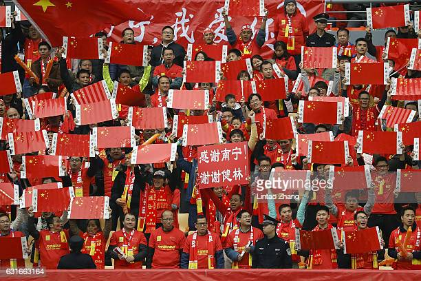 Supporters of China cheer during the third place match of 2017 Gree China Cup International Football Championship between Croatia and China at...