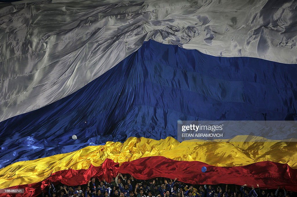 Supporters of Colombian Millonarios cheer during their Copa Sudamericana football match against Brazil's Gremio in Bogota on November 15, 2012. AFP PHOTO/Eitan Abramovich