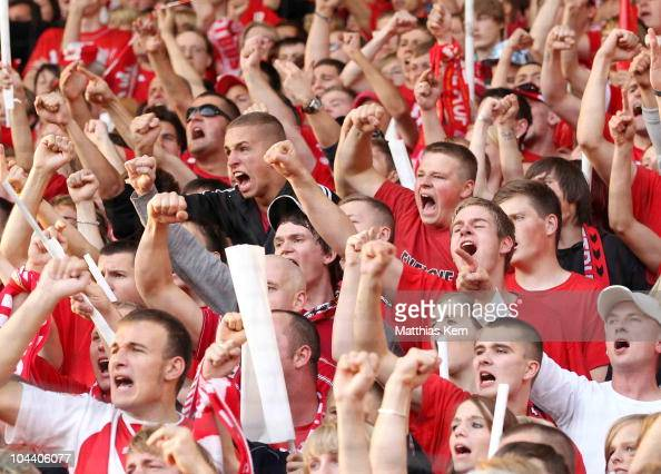 Supporters of Cottbus are seen during the Second Bundesliga match between FC Energie Cottbus and Hertha BSC Berlin at Stdion der Freundschaft on...