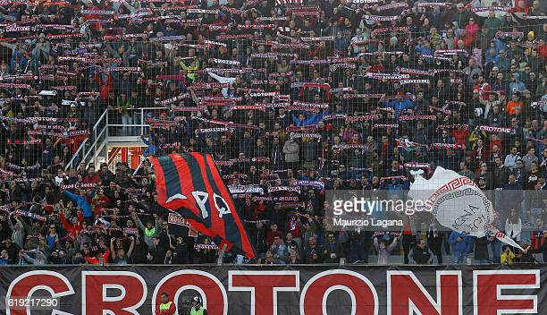 Supporters of Crotone during the Serie A match between FC Crotone and AC ChievoVerona at Stadio Comunale Ezio Scida on October 30 2016 in Crotone...