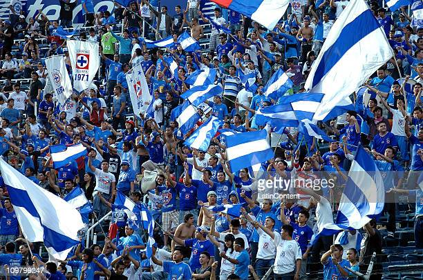 Supporters of Cruz Azul before the match between Cruz Azul against Necaxa as part of the the Clausura Tournament 2011 at the Azul Stadium on March 05...