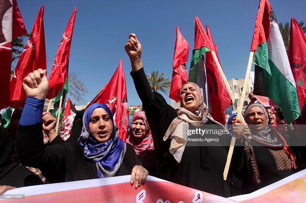 Supporters of Democratic Front for the Liberation of Palestine demanding the protection of Palestinian refugees protest against the Yarmouk Refugee...
