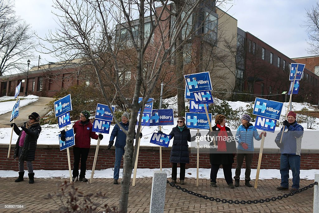 Supporters of Democratic presidential candidate Hillary Clinton show their support for her on February 7, 2016 in Plymouth, New Hampshire. Democratic and Republican presidential candidates are stumping for votes throughout New Hampshire leading up to the Presidential primary on February 9.