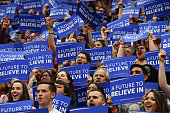 Supporters of Democratic presidential candidate Sen Bernie Sanders cheer as he addresses them during a rally at Recreation Hall on the campus of Penn...