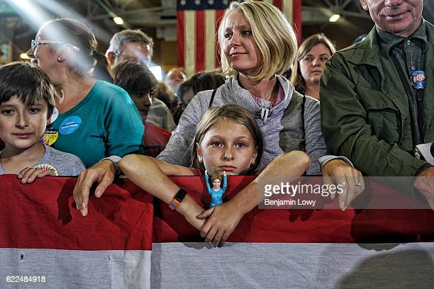 Supporters of Democratic presidential nominee former Secretary of State Hillary Clinton during a campaign rally at Goodyear Hall and Theatre on...
