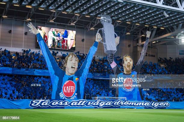 Supporters of Djurgardens IF unveil a choreography with 'Make us dare to dream again' written on it before the Allsvenskan match between Djurgardens...