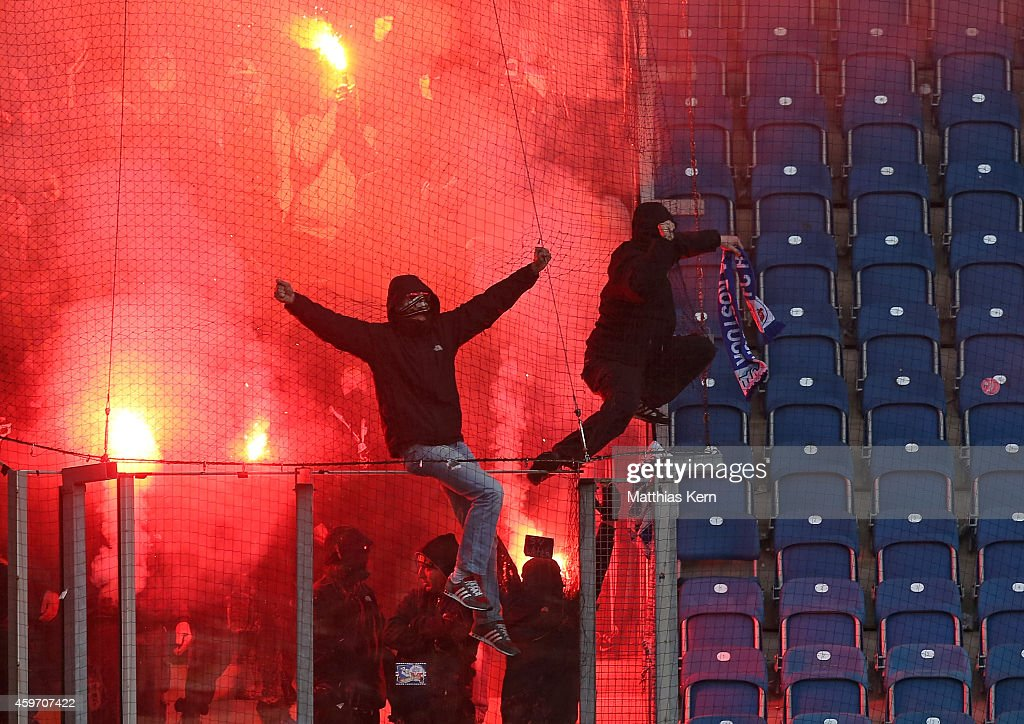 Supporters of Dresden are pictured during the third league match between FC Hansa Rostock and SG Dynamo Dresden at DKBArena on November 29 2014 in...