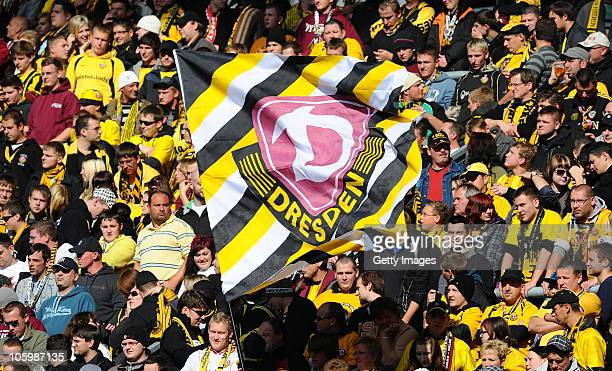 Supporters of Dresden during the Third League match between Dynamo Dresden and Hansa Rostock at Rudolf Harbig Stadium on October 23 2010 in Dresden...