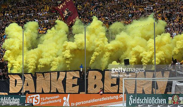 Supporters of Dresden say goodbye to Benjamin Kirsten prior to the third league match between SG Dynamo Dresden and FC Hansa Rostock at...