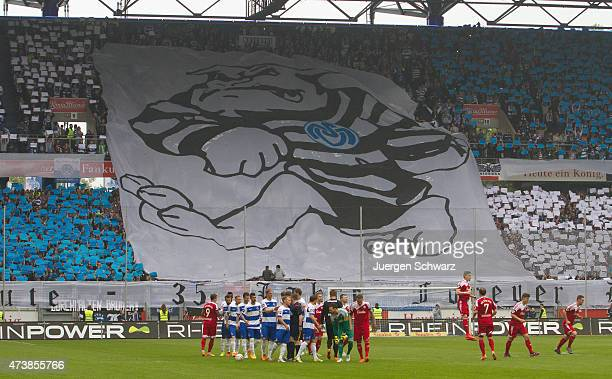 Supporters of Duisburg welcome their team at the 3rd Bundesliga match between MSV Duisburg and Holstein Kiel at SchauinslandReisenArena on May 16...