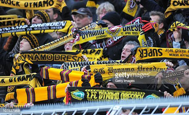Supporters of Dynamo Dresden during the Third League match between Carl Zeiss Jena and Dynamo Dresden at the ErnstAbbe Sportfeld on December 11 2010...