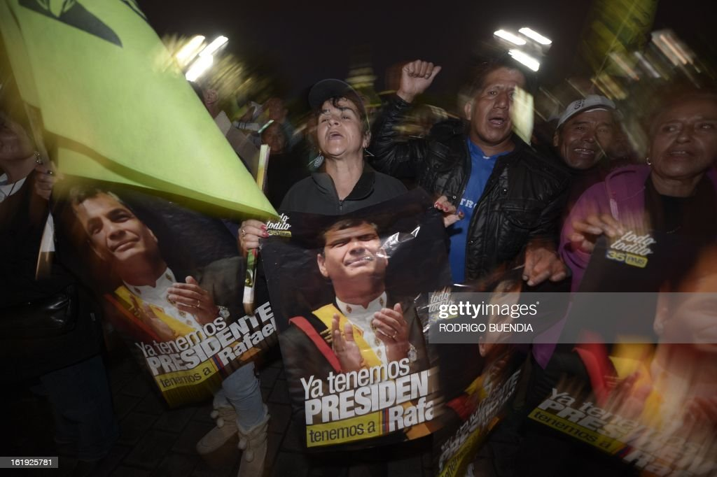 Supporters of Ecuadorean President Rafael Correa celebrate his re-election, outside the Carondelet presidential palace in Quito on February 17, 2013. President Rafael Correa declared victory in the first-round of Ecuador's presidential vote Sunday as he celebrated with thousands of supporters in the South American country's Andean capital. Exit polls gave him about 60 percent of the vote -- and a roughly 40-point lead over his nearest rival, banker Guillermo Lasso. AFP PHOTO/RODRIGO BUENDIA
