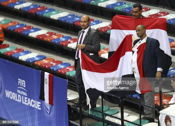 Supporters of Egypt hold a flag during the FIVB Volleyball World Men's League group C2 match between Egypt and Netherlands at Baskent Sport Hall in...