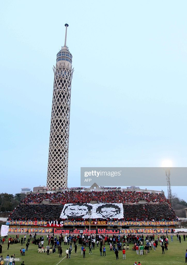Supporters of Egypt's AlAhly football club gather in Mokhtar ElTetsh Stadium in Cairo on February 1 to mark the second anniversary of the massacre of...