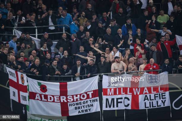 Supporters of England during the international friendly match between Germany and England at Signal Iduna Park on March 22 2017 in Dortmund Germany