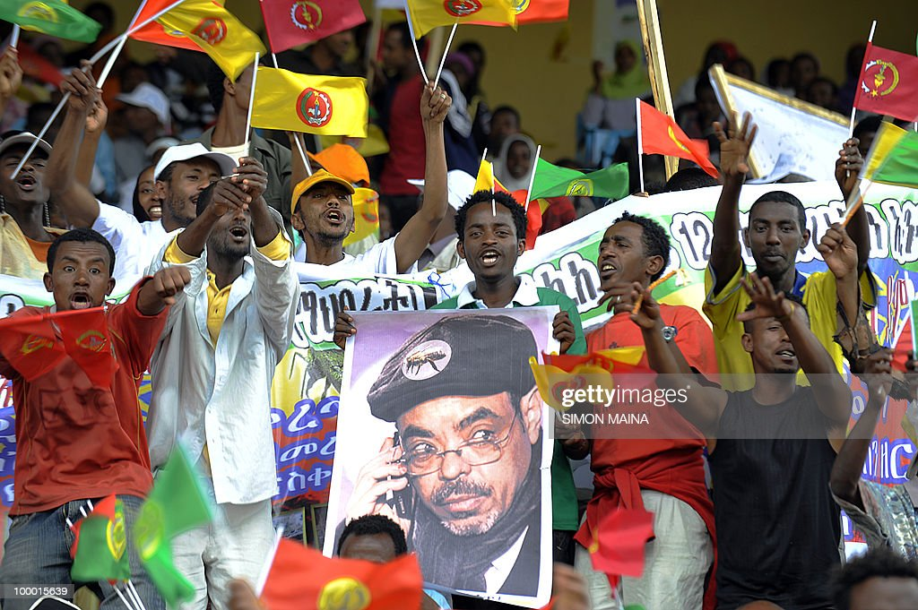 Supporters of Ethiopia's People Revolutionary Front (EPRDF) carry a poster of Prime Minister Meles Zenawi on May 20 2010, on the last day of campaigning ahead of the election scheduled for this weekend. The Horn of Africa nation goes to the polls on Sunday for its first elections since 2005, when allegations of vote rigging by the ruling party led to violent unrest that claimed some 200 lives.