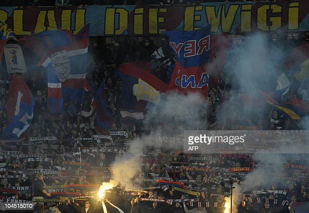 Supporters of FC Basel celebrate prior to the second football UEFA Champions League group E match between FC Basel 1893 and Bayern Munich in Basel...