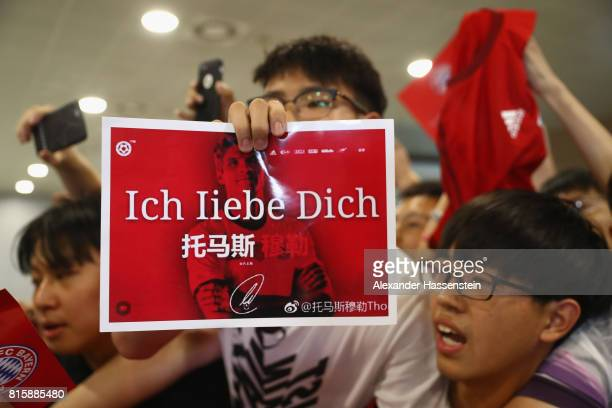 Supporters of FC Bayern Muenchen welcomes the team at Shanghai Pudong International Airport for the Audi Summer Tour 2017 on July 17 2017 in Shanghai...