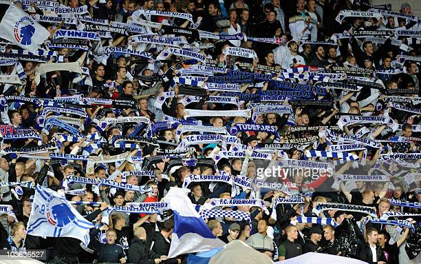 Supporters of FC Copenhagen during the Champions League Playoff match between FC Copenaghen and Rosenborg on August 25 2010 in Copenhagen Denmark