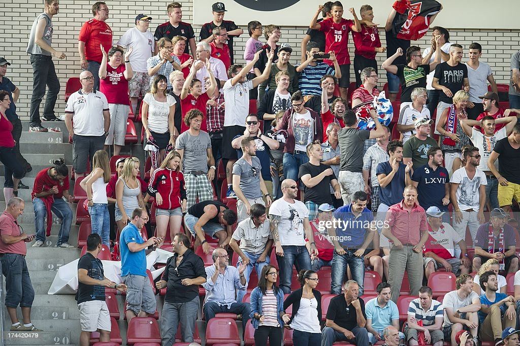 supporters of FC Differdange 03 during the Europa League second qualifying round match between FC Utrecht and FC Differdange on July 25, 2013 in Utrecht, The Netherlands.