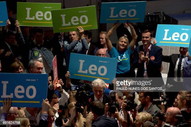Supporters of Fine Gael TD for Dublin West and Minister for Social Protection Leo Varadkar celebrate his victory in the party leadership election at...