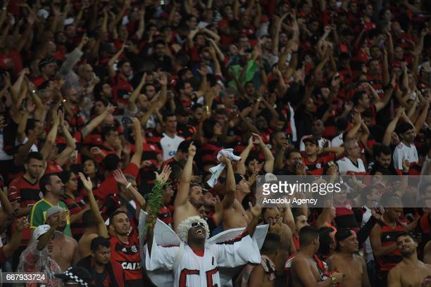 Supporters of Flamengo celebrate their team's goal during a match between Flamengo and Atletico Paranaense as part of Copa Libertadores 2017 at...